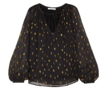 Gathered Fil Coupé Georgette Blouse Black
