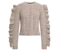 Ruffled Marled Cable-knit Wool-blend Sweater Neutral