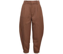 Wool-twill Tapered Pants Brown