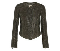 Woven leather biker jacket