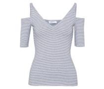 Battlement cold-shoulder striped stretch-jersey top