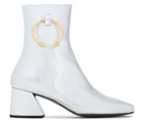 Embellished Metallic Leather Ankle Boots Silver