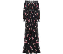 Off-the-shoulder Gathered Floral-print Silk-chiffon Gown Black