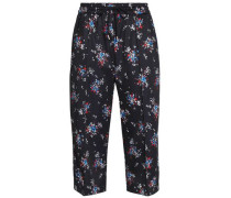 Cropped floral-print jersey track pants