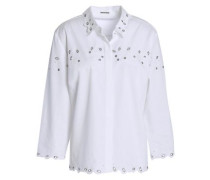 Embellished broderie anglaise cotton-blend shirt