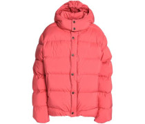 Quilted shell down hooded jacket