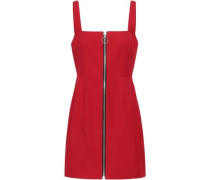 Zip-detailed Twill Mini Dress Red