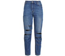 Cutout Faded Boyfriend Jeans Mid Denim  4