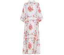 Woman Floral-print Linen-gauze Kaftan White