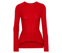 Ribbed Merino Wool, Cashmere And Silk-blend Sweater Red