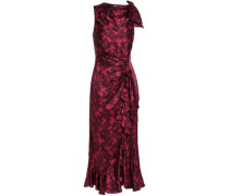 Nannon Bow-embellished Gathered Floral-print Silk-satin Midi Dress Plum