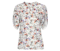 Gathered Floral-print Hammered-silk Blouse Off-white Size 0