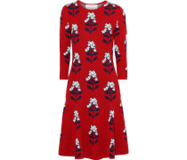 Woman Flared Wool-blend Floral-jacquard Dress Crimson