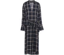 Woman Alba Ruffle-trimmed Checked Twill Midi Dress Navy