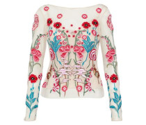 Woodland embroidered tulle top