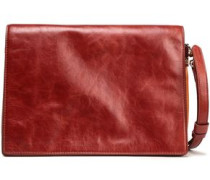 Two-tone Textured-leather Shoulder Bag Claret Size --