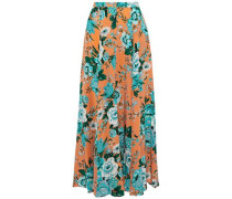 Pleated floral-print silk crepe de chine maxi skirt