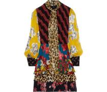 Woman Dasha Fil Coupé Chiffon-paneled Printed Silk Crepe De Chine Mini Dress Multicolor