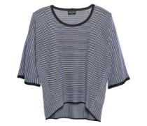 Striped Silk-blend Top Blue