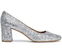 Glittered Leather Pumps Silver