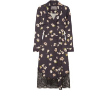 Woman Double-breasted Lace-trimmed Floral-print Crepe Midi Wrap Dress Midnight Blue