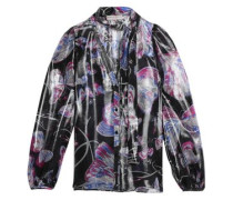 Pussy-bow printed metallic silk-blend blouse