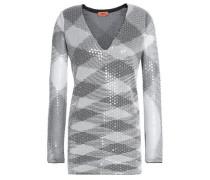 Metallic sequined crochet-knit top