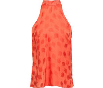 Bow-detailed Satin-jacquard Top Tomato Red