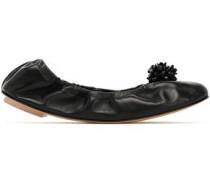 Embellished leather ballet flats