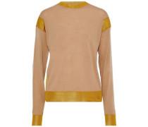Mesh-trimmed Wool-blend Sweater Sand