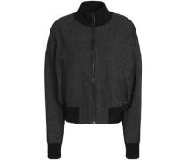Linen-piqué bomber jacket
