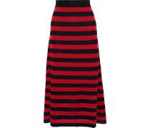 Woman Striped Open-knit Wool-blend Maxi Skirt Red