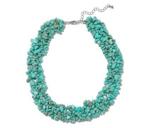 Silver-tone stone necklace