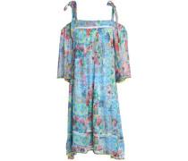 Cold-shoulder printed silk dress