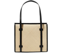 Leather-trimmed Straw Tote Black Size --