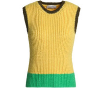 Color-block ribbed wool sweater