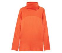 Woman Plissé Silk-satin Turtleneck Top Orange