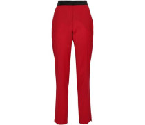 Silk Satin-trimmed Wool-blend Slim-leg Pants Red