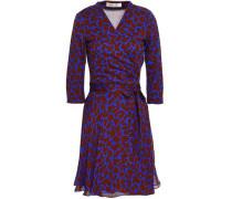 Leopard-print Silk And Cotton-blend Jersey And Georgette Mini Wrap Dress Cobalt Blue Size 14