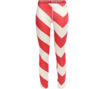 Striped Stretch-jersey Leggings Tomato Red