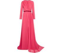 Grosgrain-trimmed gathered silk-chiffon gown