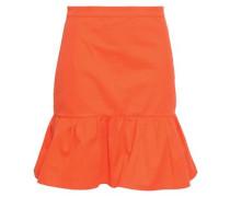 Fluted Cotton-blend Twill Mini Skirt Bright Orange