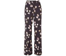 Maggie Floral-print Crepe Wide-leg Pants Midnight Blue Size 0