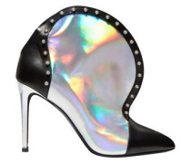 Woman Studded Iridescent-effect And Smooth-leather Ankle Boots Silver