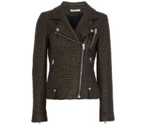 Camy Faux Leather And Felt Biker Jacket Bronze