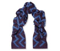 Metallic jacquard-knit scarf