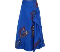 Floral-appliquéd Draped Silk Midi Skirt Cobalt Blue