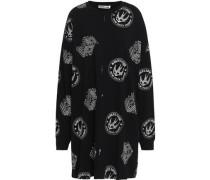 Printed French Cotton-terry Mini Dress Black