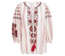 Camilla Tasseled Embroidered Cotton-jacquard Blouse