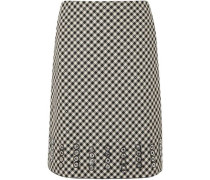 Eyelet-embellished gingham cotton and wool-blend skirt